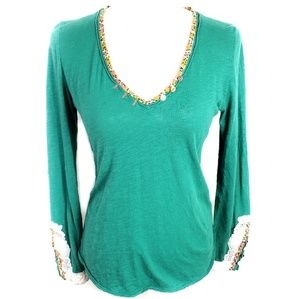 Anthro Little Yellow Button Embroidered Cuff Top